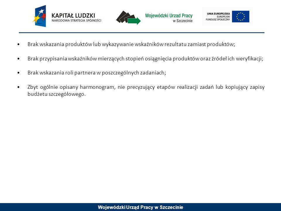 Wojewódzki Urząd Pracy w Szczecinie Brak wskazania produktów lub wykazywanie wskaźników rezultatu zamiast produktów; Brak przypisania wskaźników mierz