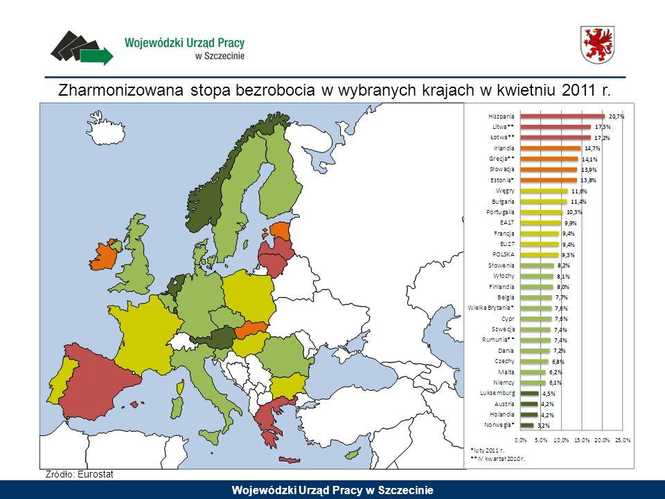 Zharmonizowana stopa bezrobocia w wybranych krajach w kwietniu 2011 r. Źródło : Eurostat