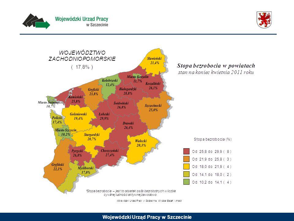 Liczba zarejestrowanych bezrobotnych w województwie zachodniopomorskim w latach 1999 - 2011