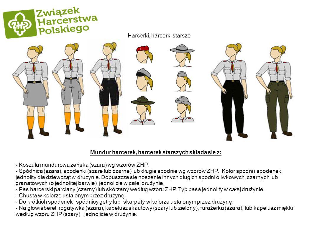 Harcerki, harcerki starsze Mundur harcerek, harcerek starszych składa się z: - Koszula mundurowa żeńska (szara) wg wzorów ZHP. - Spódnica (szara), spo