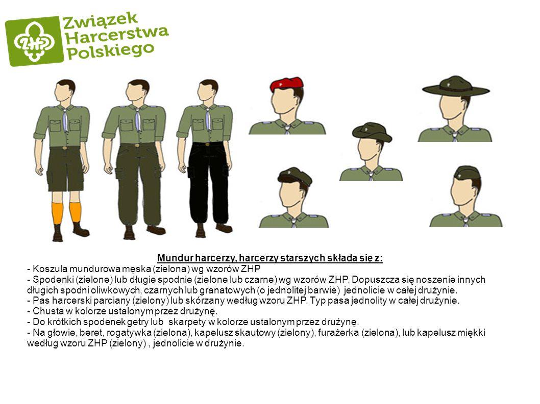 Mundur harcerzy, harcerzy starszych składa się z: - Koszula mundurowa męska (zielona) wg wzorów ZHP - Spodenki (zielone) lub długie spodnie (zielone l