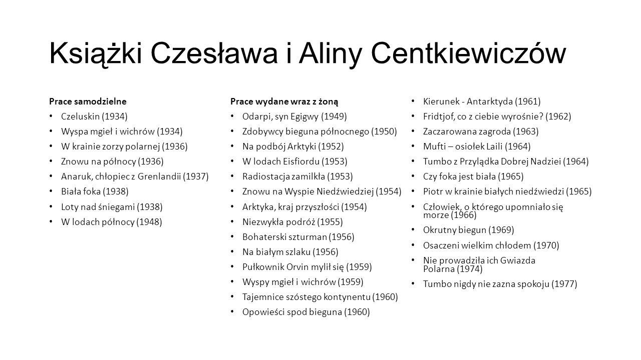 Książki Czesława i Aliny Centkiewiczów Prace samodzielne Czeluskin (1934) Wyspa mgieł i wichrów (1934) W krainie zorzy polarnej (1936) Znowu na północ