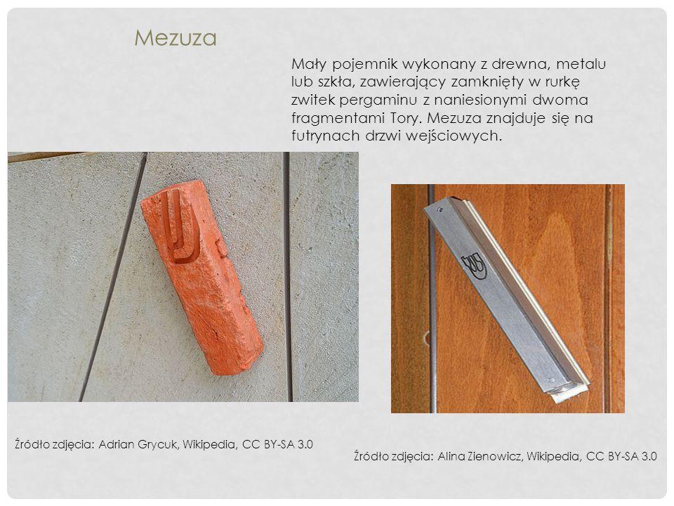 Mezuza Mały pojemnik wykonany z drewna, metalu lub szkła, zawierający zamknięty w rurkę zwitek pergaminu z naniesionymi dwoma fragmentami Tory. Mezuza