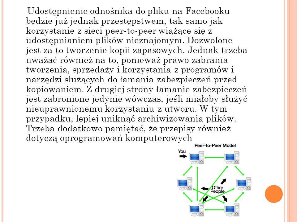 Udostępnienie odnośnika do pliku na Facebooku będzie już jednak przestępstwem, tak samo jak korzystanie z sieci peer-to-peer wiążące się z udostępnian