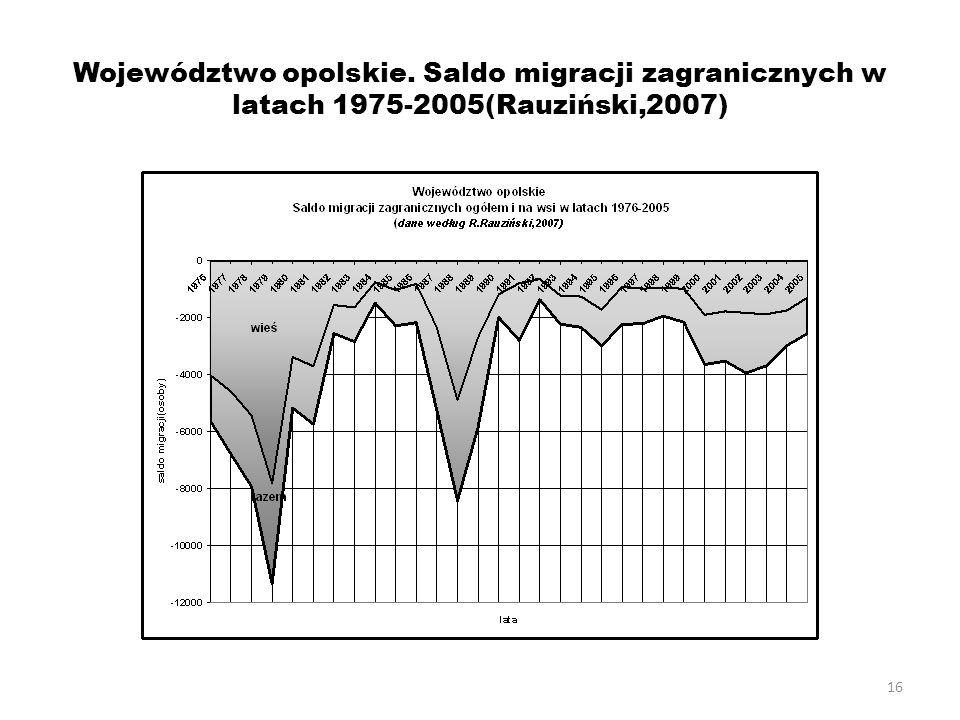 16 Województwo opolskie. Saldo migracji zagranicznych w latach 1975-2005(Rauziński,2007)