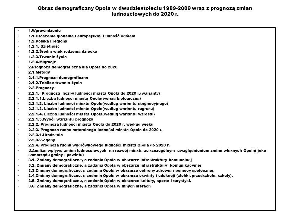 2 Obraz demograficzny Opola w dwudziestoleciu 1989-2009 wraz z prognozą zmian ludnościowych do 2020 r. 1.Wprowadzenie 1.1.Otoczenie globalne i europej