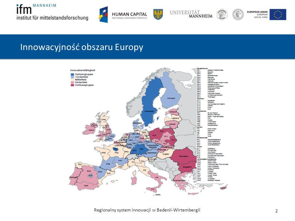 Regionalny system innowacji w Badenii-Wirtembergii 2 Innowacyjność obszaru Europy
