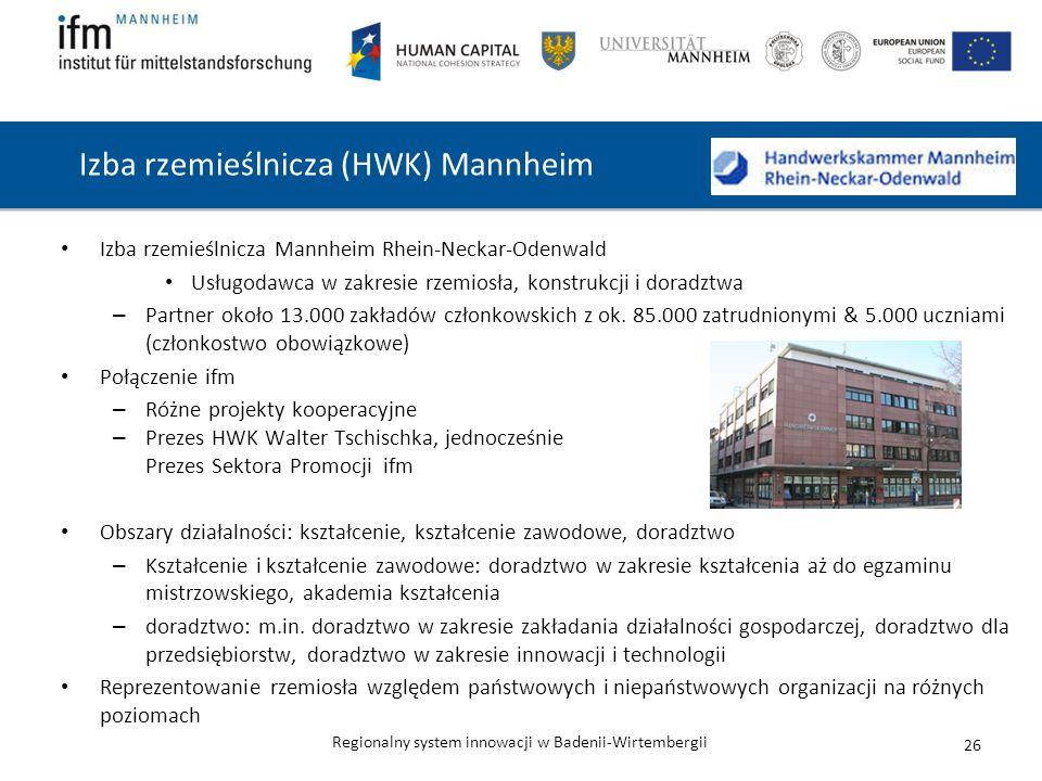 Regionalny system innowacji w Badenii-Wirtembergii Izba rzemieślnicza (HWK) Mannheim Izba rzemieślnicza Mannheim Rhein-Neckar-Odenwald Usługodawca w zakresie rzemiosła, konstrukcji i doradztwa – Partner około 13.000 zakładów członkowskich z ok.