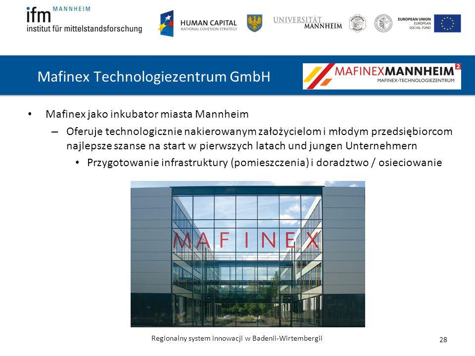 Regionalny system innowacji w Badenii-Wirtembergii Mafinex Technologiezentrum GmbH 28 Mafinex jako inkubator miasta Mannheim – Oferuje technologicznie nakierowanym założycielom i młodym przedsiębiorcom najlepsze szanse na start w pierwszych latach und jungen Unternehmern Przygotowanie infrastruktury (pomieszczenia) i doradztwo / osieciowanie