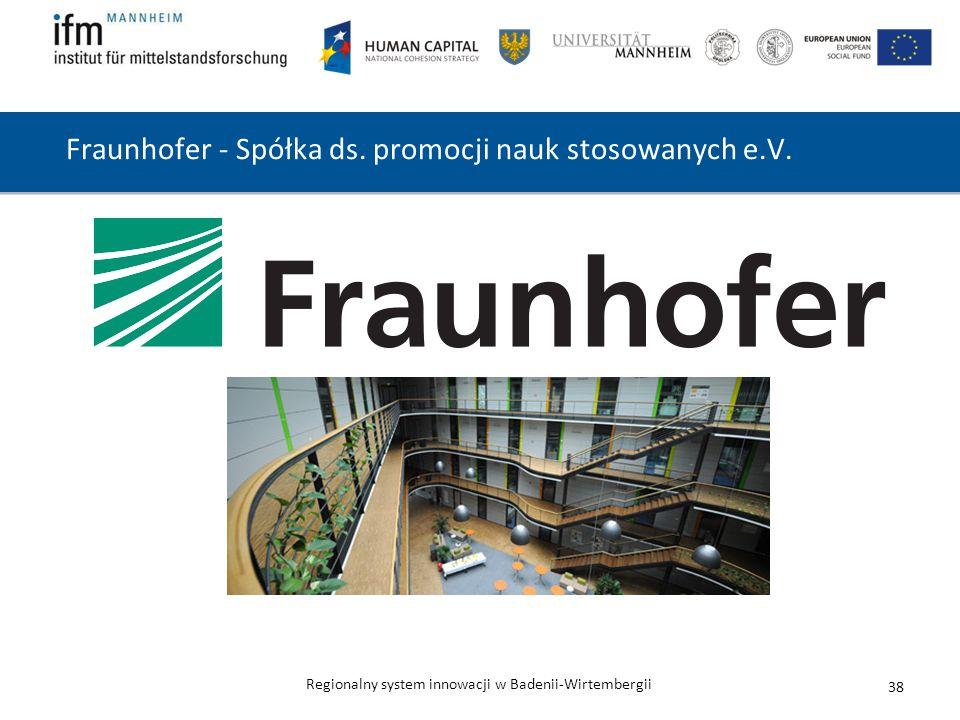 Regionalny system innowacji w Badenii-Wirtembergii Fraunhofer - Spółka ds. promocji nauk stosowanych e.V. 38