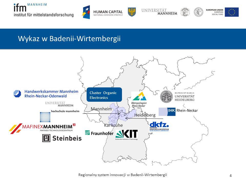 Regionalny system innowacji w Badenii-Wirtembergii Wykaz w Badenii-Wirtembergii 4 Mannheim Heidelberg Karlsruhe Cluster Organic Electronics