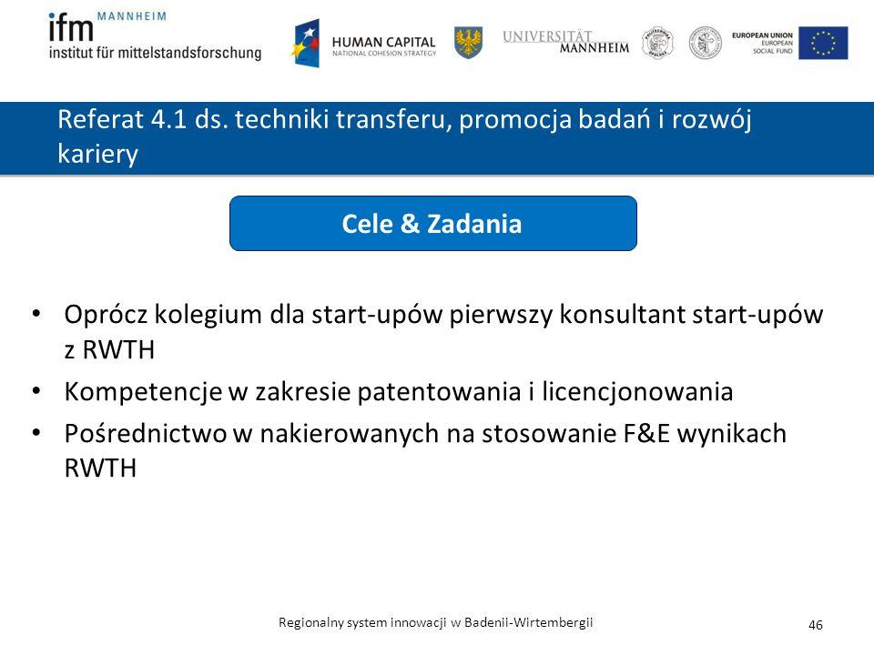 Regionalny system innowacji w Badenii-Wirtembergii Referat 4.1 ds. techniki transferu, promocja badań i rozwój kariery Oprócz kolegium dla start-upów