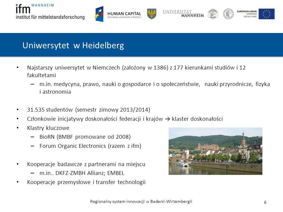Regionalny system innowacji w Badenii-Wirtembergii Uniwersytet w Heidelberg Najstarszy uniwersytet w Niemczech (założony w 1386) z 177 kierunkami studiów i 12 fakultetami – m.in.