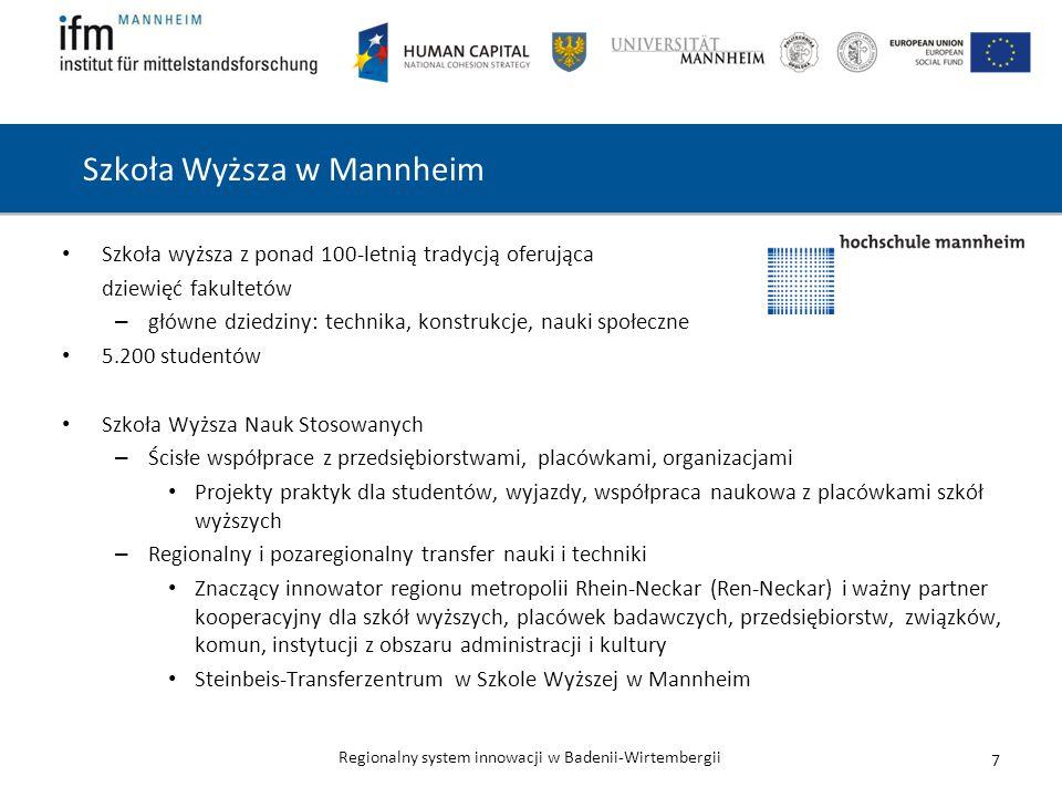 Regionalny system innowacji w Badenii-Wirtembergii Szkoła Wyższa w Mannheim Szkoła wyższa z ponad 100-letnią tradycją oferująca dziewięć fakultetów –