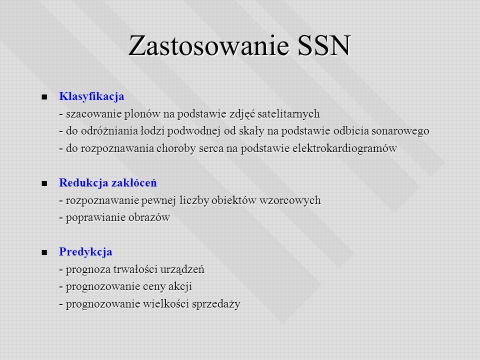 Zastosowanie SSN Klasyfikacja - szacowanie plonów na podstawie zdjęć satelitarnych - do odróżniania łodzi podwodnej od skały na podstawie odbicia sona