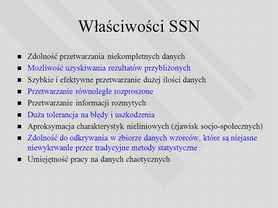 Właściwości SSN Zdolność przetwarzania niekompletnych danych Możliwość uzyskiwania rezultatów przybliżonych Szybkie i efektywne przetwarzanie dużej il