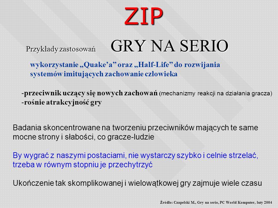 Przykłady zastosowań GRY NA SERIO ZIP -przeciwnik uczący się nowych zachowań ( mechanizmy reakcji na działania gracza) -rośnie atrakcyjność gry Badani