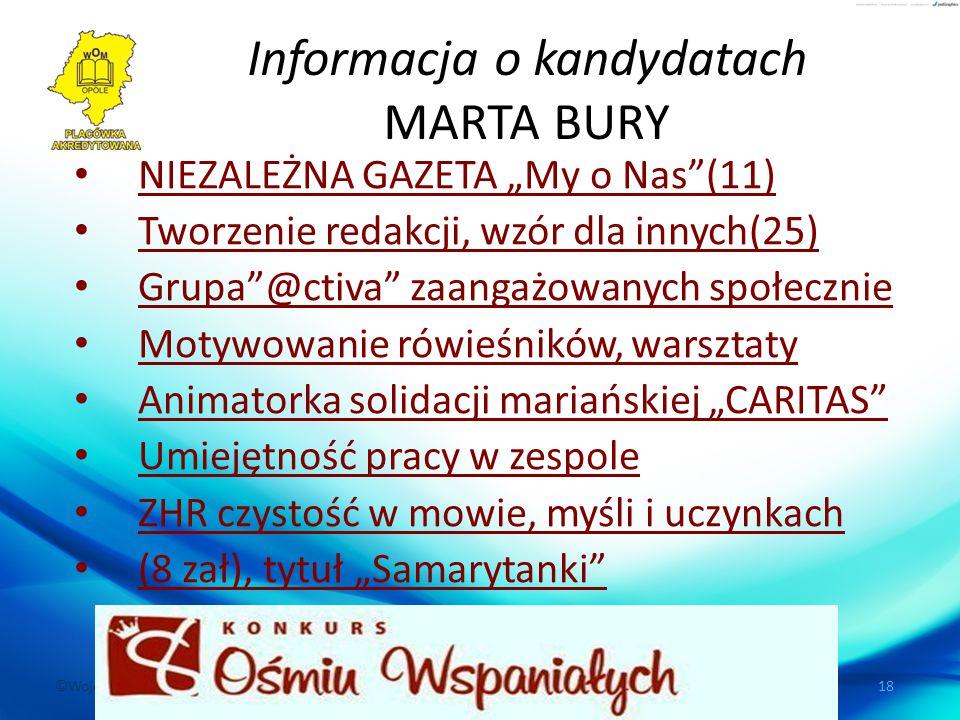 """©Wojewódzki Ośrodek Metodyczny w Opolu, ul. Dubois 36, 45-067 Opole 18 Informacja o kandydatach MARTA BURY NIEZALEŻNA GAZETA """"My o Nas""""(11) Tworzenie"""