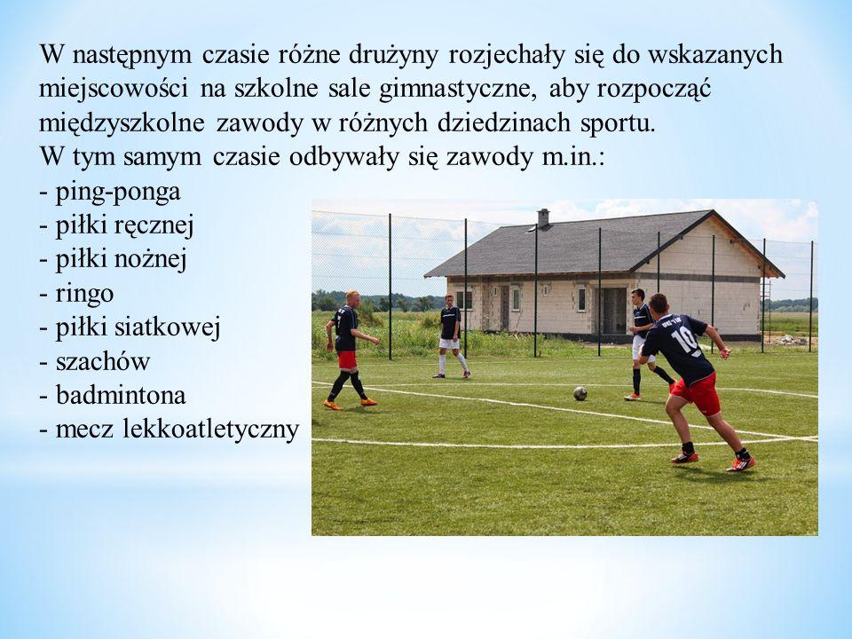 W następnym czasie różne drużyny rozjechały się do wskazanych miejscowości na szkolne sale gimnastyczne, aby rozpocząć międzyszkolne zawody w różnych dziedzinach sportu.