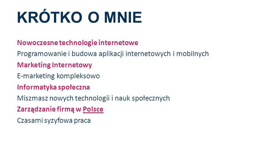KRÓTKO O MNIE Nowoczesne technologie internetowe Programowanie i budowa aplikacji internetowych i mobilnych Marketing Internetowy E-marketing kompleks
