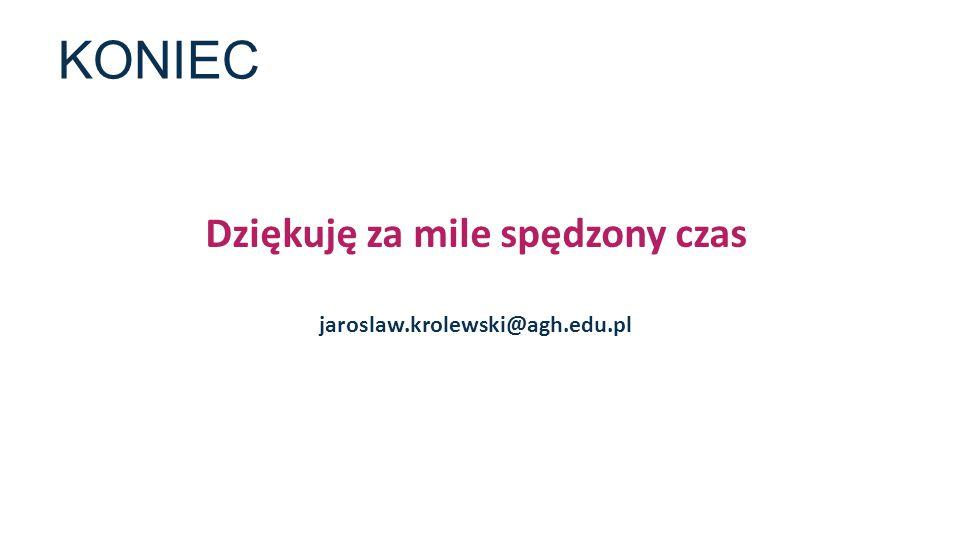 KONIEC Dziękuję za mile spędzony czas jaroslaw.krolewski@agh.edu.pl