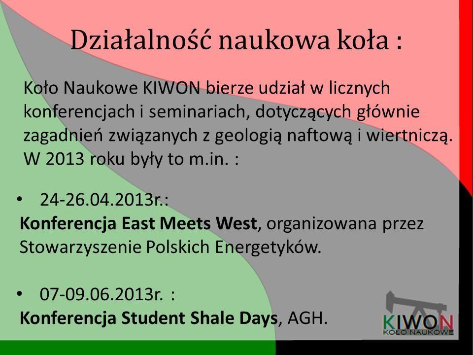 Działalność naukowa koła : Koło Naukowe KIWON bierze udział w licznych konferencjach i seminariach, dotyczących głównie zagadnień związanych z geologi