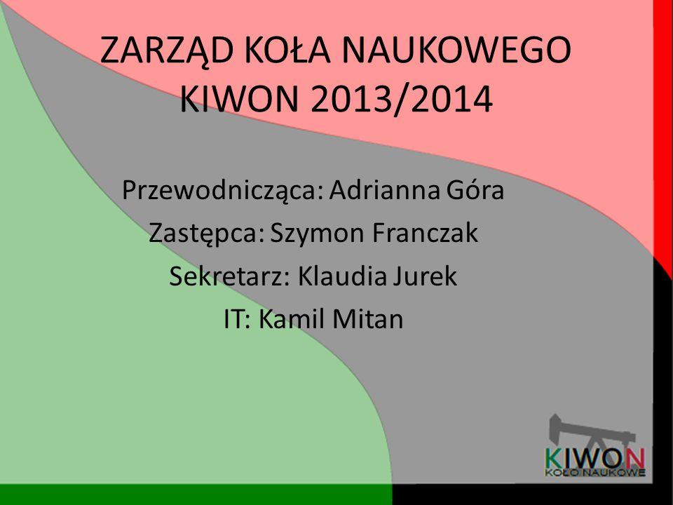 ZARZĄD KOŁA NAUKOWEGO KIWON 2013/2014 Przewodnicząca: Adrianna Góra Zastępca: Szymon Franczak Sekretarz: Klaudia Jurek IT: Kamil Mitan