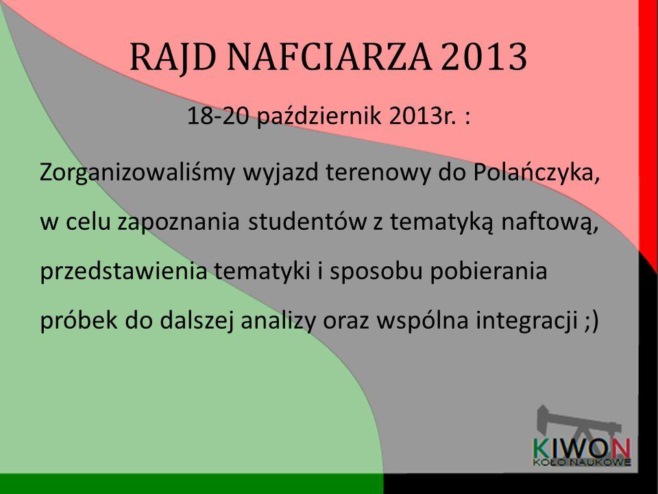 RAJD NAFCIARZA 2013 18-20 październik 2013r. : Zorganizowaliśmy wyjazd terenowy do Polańczyka, w celu zapoznania studentów z tematyką naftową, przedst