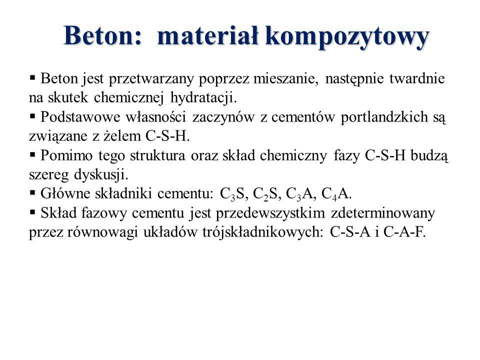 Beton: materiał kompozytowy  Beton jest przetwarzany poprzez mieszanie, następnie twardnie na skutek chemicznej hydratacji.  Podstawowe własności za