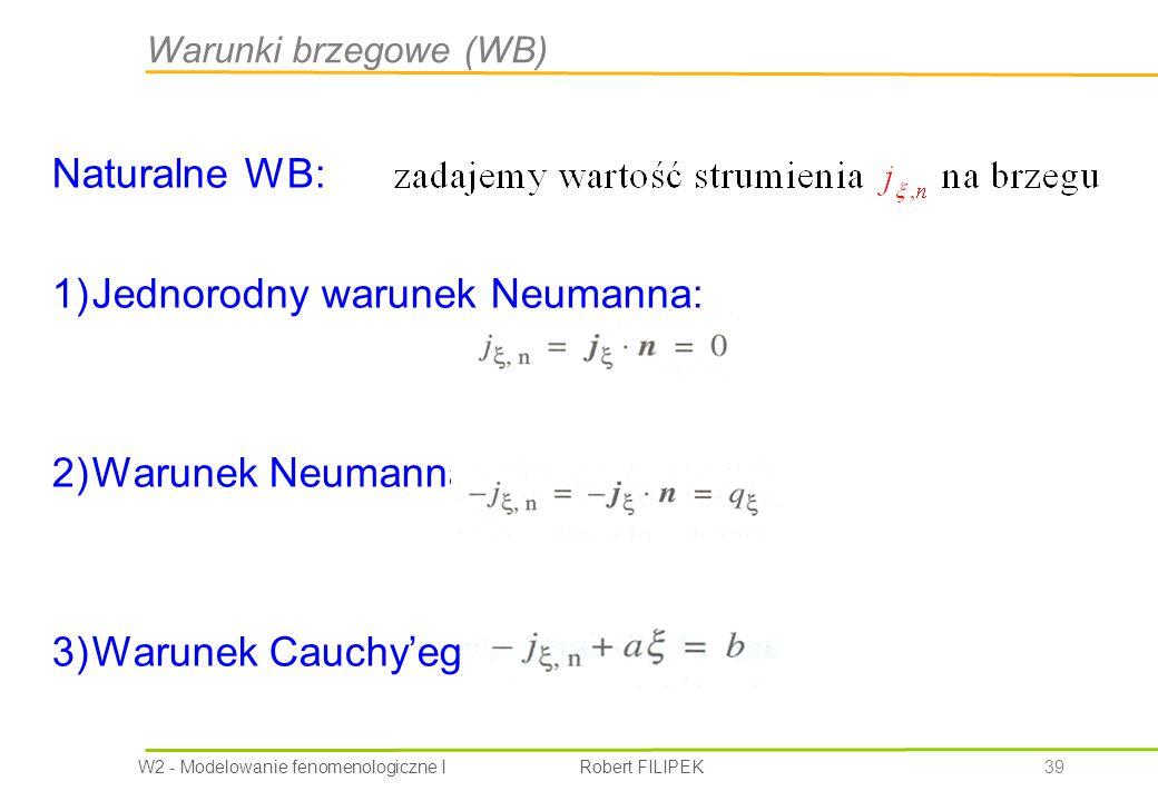 W2 - Modelowanie fenomenologiczne I Robert FILIPEK 39 Warunki brzegowe (WB) Naturalne WB: 1)Jednorodny warunek Neumanna: 2)Warunek Neumanna: 3)Warunek Cauchy'ego (mieszany):
