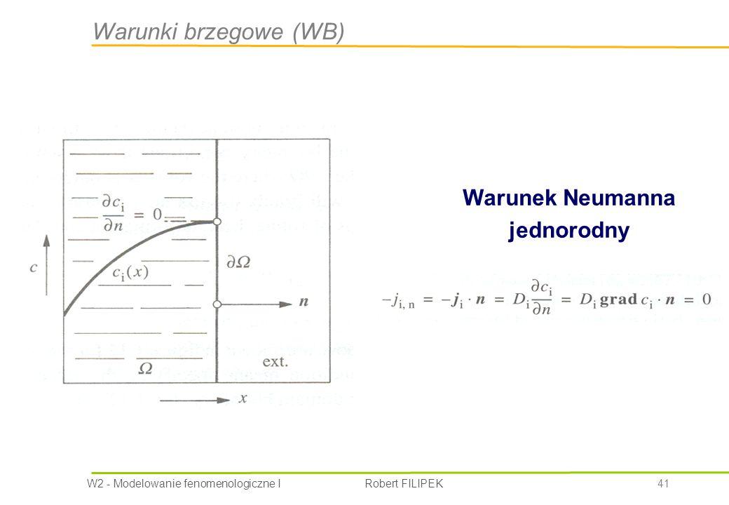 W2 - Modelowanie fenomenologiczne I Robert FILIPEK 41 Warunek Neumanna jednorodny Warunki brzegowe (WB)