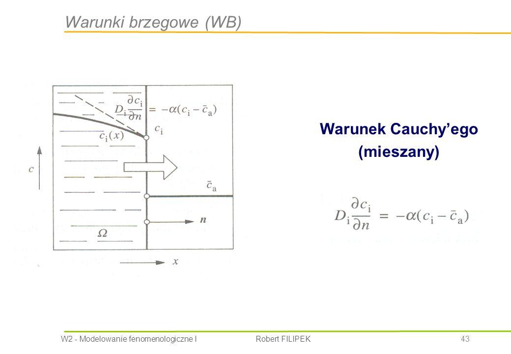 W2 - Modelowanie fenomenologiczne I Robert FILIPEK 43 Warunek Cauchy'ego (mieszany) Warunki brzegowe (WB)