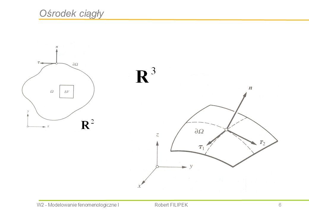 W2 - Modelowanie fenomenologiczne I Robert FILIPEK 17 Równanie zachowania masy Bilans masy