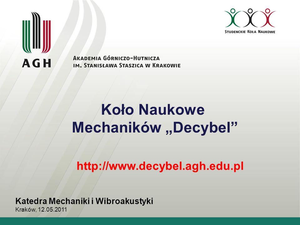 """Koło Naukowe Mechaników """"Decybel"""" Katedra Mechaniki i Wibroakustyki Kraków, 12.05.2011 http://www.decybel.agh.edu.pl"""