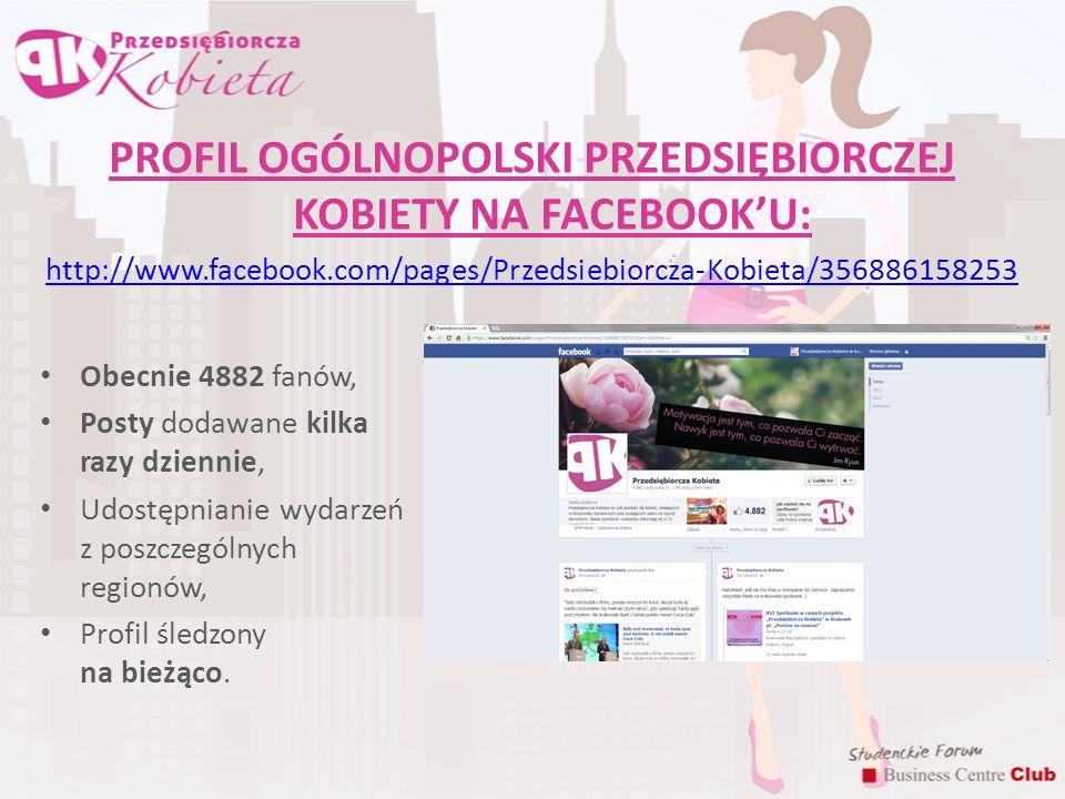 PROFIL OGÓLNOPOLSKI PRZEDSIĘBIORCZEJ KOBIETY NA FACEBOOK'U: http://www.facebook.com/pages/Przedsiebiorcza-Kobieta/356886158253 Obecnie 4882 fanów, Pos