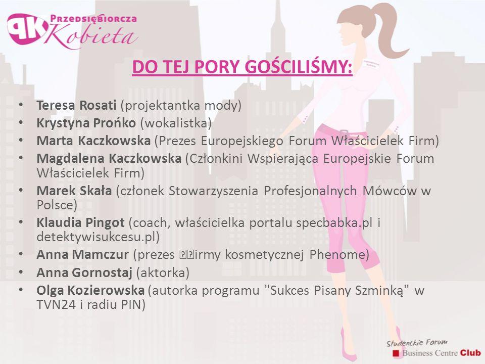 DO TEJ PORY GOŚCILIŚMY: Teresa Rosati (projektantka mody) Krystyna Prońko (wokalistka) Marta Kaczkowska (Prezes Europejskiego Forum Właścicielek Firm)