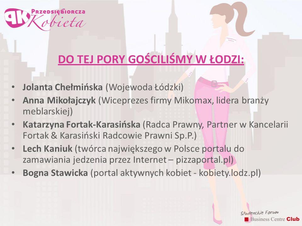 DO TEJ PORY GOŚCILIŚMY W ŁODZI: Jolanta Chełmińska (Wojewoda Łódzki) Anna Mikołajczyk (Wiceprezes firmy Mikomax, lidera branży meblarskiej) Katarzyna