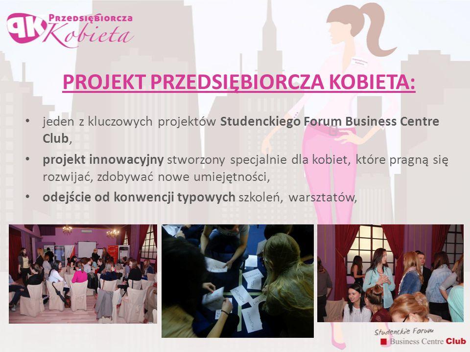 PROJEKT PRZEDSIĘBIORCZA KOBIETA: jeden z kluczowych projektów Studenckiego Forum Business Centre Club, projekt innowacyjny stworzony specjalnie dla ko