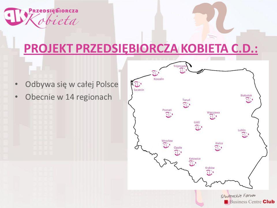 PROJEKT PRZEDSIĘBIORCZA KOBIETA C.D.: Odbywa się w całej Polsce Obecnie w 14 regionach