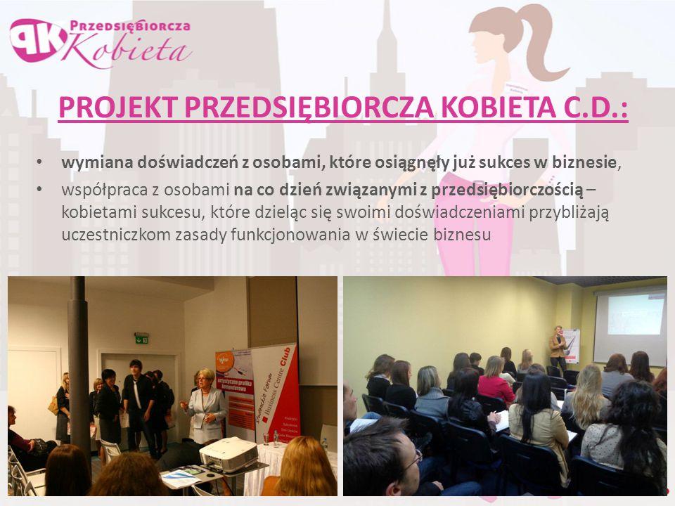 PROJEKT PRZEDSIĘBIORCZA KOBIETA C.D.: wymiana doświadczeń z osobami, które osiągnęły już sukces w biznesie, współpraca z osobami na co dzień związanym