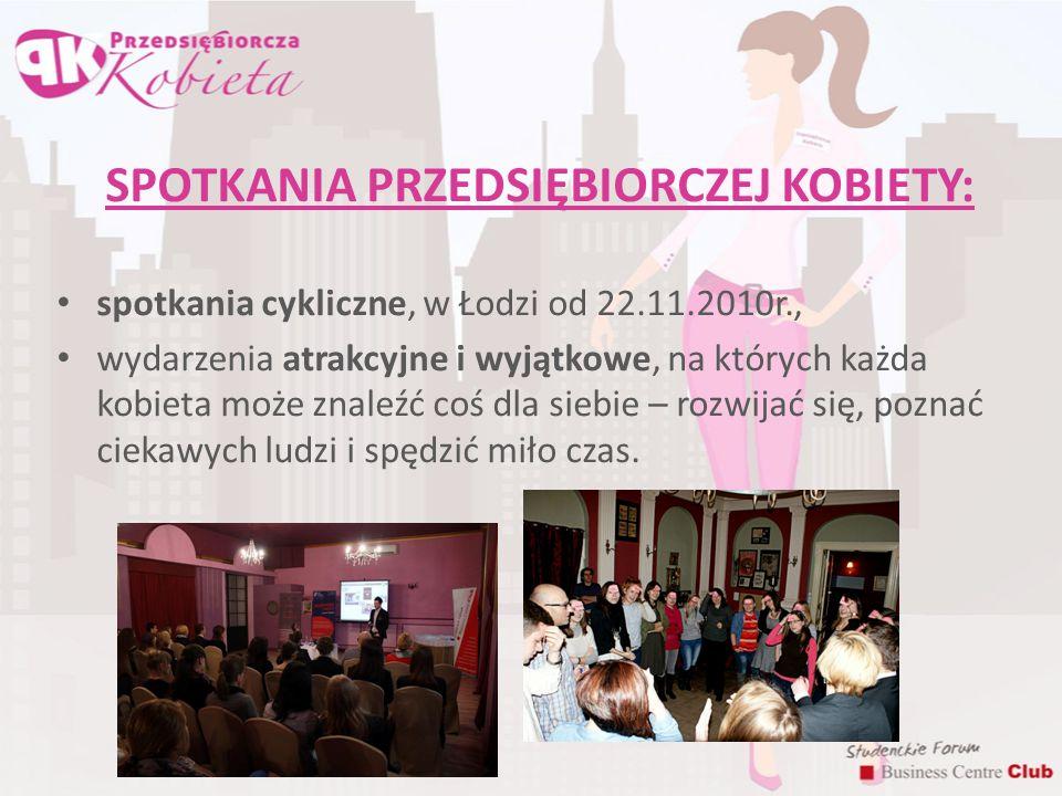 SPOTKANIA PRZEDSIĘBIORCZEJ KOBIETY C.D.: Części projektu: - inspirującej (1h), - szkoleniowej (2,5 h, w Łodzi ok.