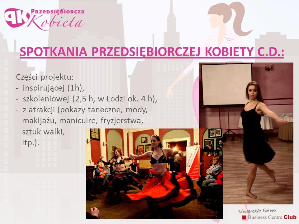 SPOTKANIA PRZEDSIĘBIORCZEJ KOBIETY C.D.: Części projektu: - inspirującej (1h), - szkoleniowej (2,5 h, w Łodzi ok. 4 h), - z atrakcji (pokazy taneczne,