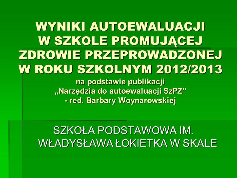 """WYNIKI AUTOEWALUACJI W SZKOLE PROMUJĄCEJ ZDROWIE PRZEPROWADZONEJ W ROKU SZKOLNYM 2012/2013 na podstawie publikacji """"Narzędzia do autoewaluacji SzPZ"""" -"""