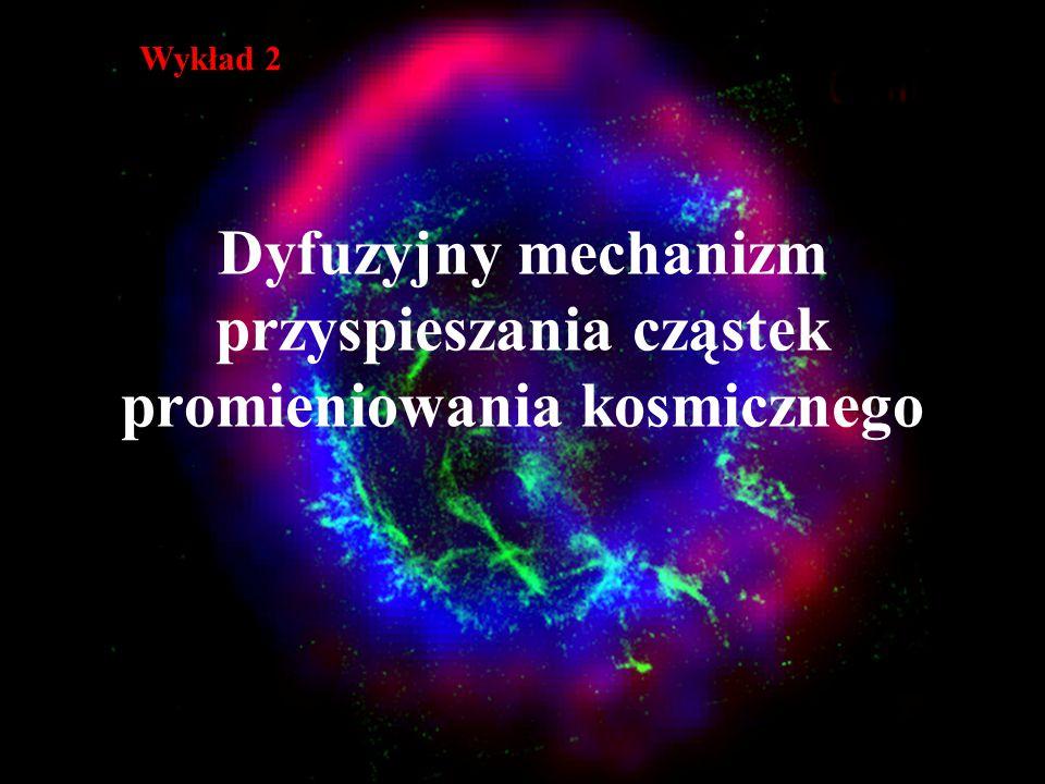 Dyfuzyjny mechanizm przyspieszania cząstek promieniowania kosmicznego Wykład 2