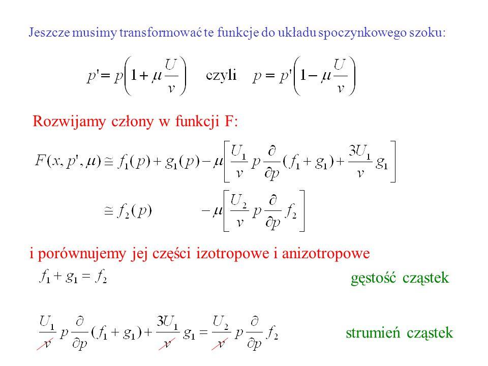 Jeszcze musimy transformować te funkcje do układu spoczynkowego szoku: Rozwijamy człony w funkcji F: i porównujemy jej części izotropowe i anizotropowe gęstość cząstek strumień cząstek