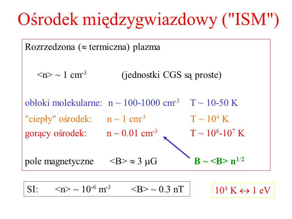 Ośrodek międzygwiazdowy ( ISM ) Rozrzedzona (  termiczna) plazma ~ 1 cm -3 (jednostki CGS są proste) obłoki molekularne: n ~ 100-1000 cm -3 T ~ 10-50 K ciepły ośrodek: n ~ 1 cm -3 T ~ 10 4 K gorący ośrodek: n ~ 0.01 cm -3 T ~ 10 6 -10 7 K pole magnetyczne  3  G B ~ n 1/2 SI: ~ 10 -6 m -3 ~ 0.3 nT 10 4 K  1 eV