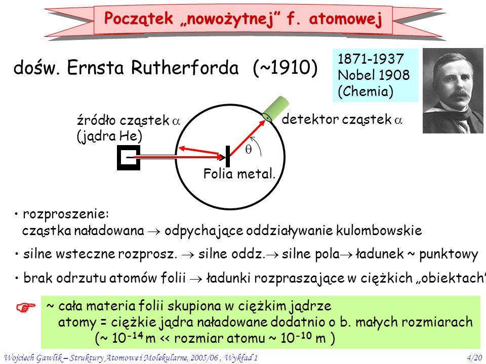 Wojciech Gawlik – Struktury Atomowe i Molekularne, 2005/06, Wykład 14/20 dośw. Ernsta Rutherforda (~1910) 1871-1937 Nobel 1908 (Chemia) źródło cząstek
