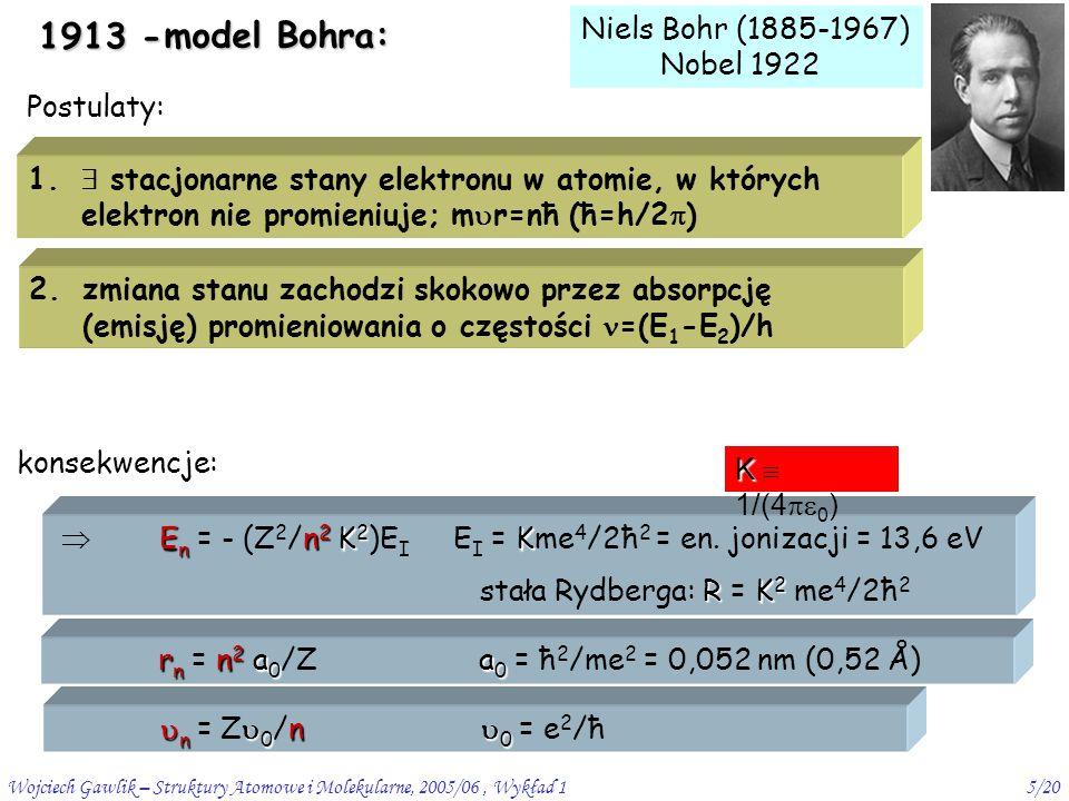 Wojciech Gawlik – Struktury Atomowe i Molekularne, 2005/06, Wykład 16/20 sens poziomów Bohra  postulat Bohra nie tłumaczy stabilności atomów jako stanów stacjonarnych (odpowiadających minimum energii) klasycznie całkowita energia E = T klas + V klas T klas = ½ m  2 =   równowaga sił: m  2 /r 0 = e 2 /r 0   = ½ e 2 /r 0 E = - ½ e 2 /r 0 V klas = - e 2 /r 0 E(r 0 ) 0.