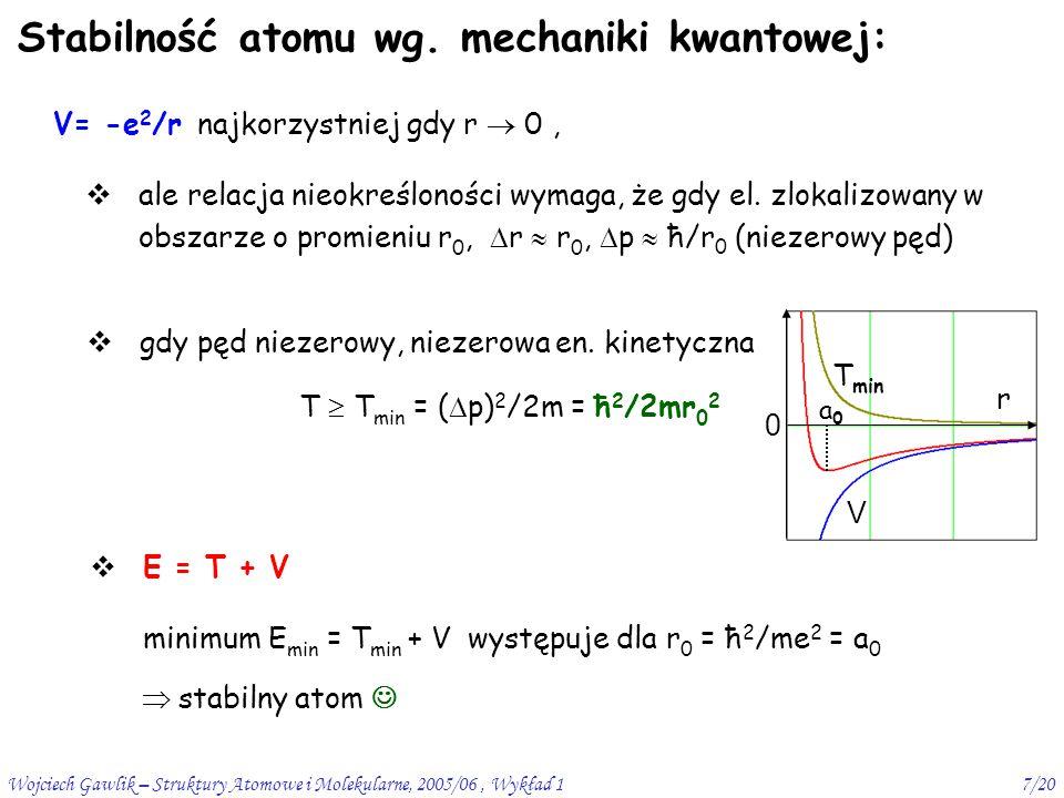Wojciech Gawlik – Struktury Atomowe i Molekularne, 2005/06, Wykład 18/20  z mechaniki kwantowej wiemy, że  r  p  ħ aby klasyczne orbity i kręt miały sens trzeba  p << p,  r << r, czyli (  r/r)(  p/p) << 1 postulaty Bohra sprzeczne z dotychczasową fizyką elektron krążący emituje (przyspieszane ładunki promieniują ) i powinien spaść na jądro sprzeczność   ale  r  p  ħ  (  r  p)/rp  ħ/rp mvr = pr = nħ, czyli (  r  p)/rp  1/n  nie można mówić o zlokalizowanych orbitach (w sensie klas.) (chyba że n>>1 – stany rydbergowskie) - pojęcie orbity ?