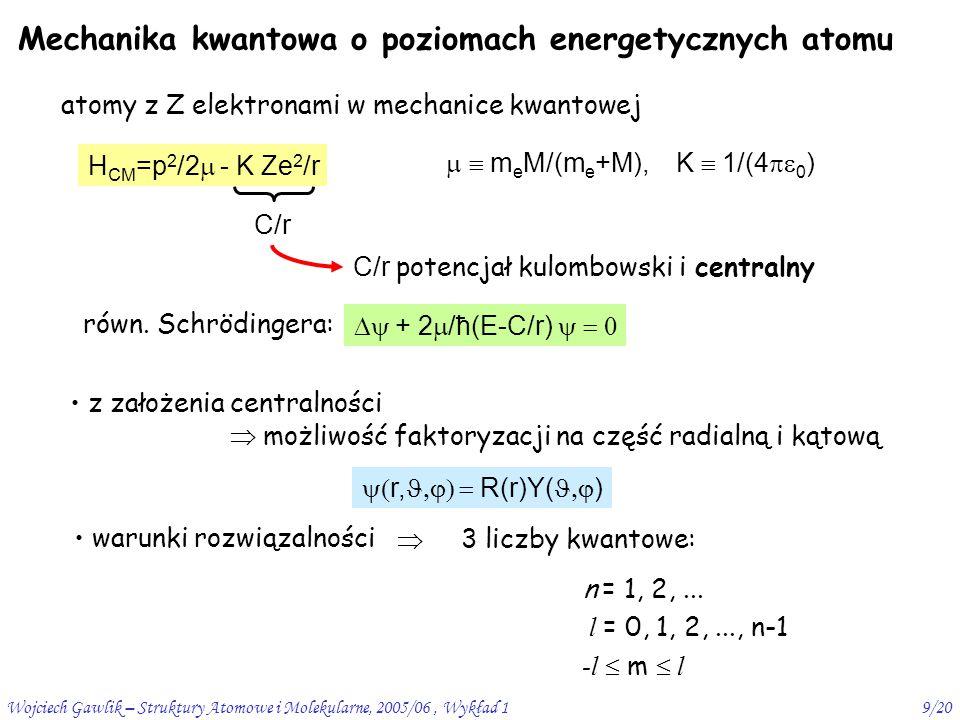 Wojciech Gawlik – Struktury Atomowe i Molekularne, 2005/06, Wykład 19/20 Mechanika kwantowa o poziomach energetycznych atomu atomy z Z elektronami w mechanice kwantowej H CM =p 2 /2  - K Ze 2 /r   m e M/(m e +M), K  1/(4  0 ) C/r C/r potencjał kulombowski i centralny  + 2  /ħ(E-C/r)  z założenia centralności  możliwość faktoryzacji na część radialną i kątową  r,  R(r)Y(  ) warunki rozwiązalności  3 liczby kwantowe: n = 1, 2,...